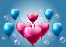 Pink and blue balloons realistic Vector. Heart shape shinny detailed 3d balloons. Pink and blue balloons realistic Vector. Heart shape shinny detailed 3d balloon Royalty Free Stock Images