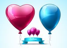 Pink and blue balloons realistic Vector. Heart shape shinny detailed 3d balloons. Pink and blue balloons realistic Vector. Heart shape shinny detailed 3d balloon Stock Photo