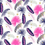 Pink and blue banana palm leaves seamless vector pattern. Royalty Free Stock Images