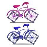 Pink and blue bicycle with square wheels isolated on white background vector illustration