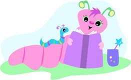 Pink and Blue Bookworms Stock Photo