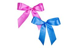 Pink and blue bows Royalty Free Stock Photos