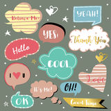Pink,blue bubble talk with Cool,Hello,OK,Thank you,Yeah,Oh and I Stock Photography