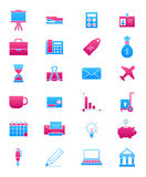 Pink-blue business icons set. Set of 24 pink-blue business icons Stock Images