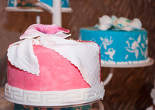 Pink and blue cake Royalty Free Stock Images