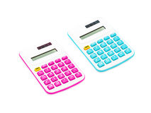 Pink and blue calculator on White Background Royalty Free Stock Images