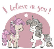Pink and blue cartoon unicorns royalty free illustration