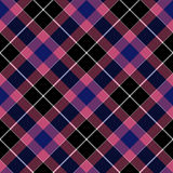 Pink blue check plaid seamless diagonal fabric texture Royalty Free Stock Image