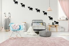 Pink and blue child`s bedroom stock image