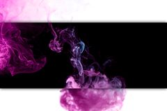 Close-up сloud of pink and blue smoke. Pink and blue cloud of smoke of  black isolated background. Background from the smoke of vape royalty free illustration