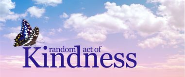 Butterfly and Kindness Cloud banner. A pink and blue cloudscape with the words RANDOM ACT OF KINDNESS and a butterfly sitting on top of the K plus copy space stock images