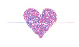 Pink and blue complicated lined heart. Mess of two colors, chaos of feelings concept. Love symbol of two people connection for Valentines greeting card design royalty free illustration