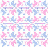 Pink and Blue Cupids and Hearts Royalty Free Stock Photos