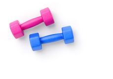 Pink and blue dumbbells on white Stock Photo