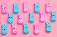 Pink and Blue Easter candy marshmallow rabbits Royalty Free Stock Images