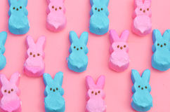 Pink and blue Easter candy marshmallow rabbits Royalty Free Stock Photos