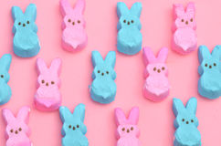 Pink and blue Easter candy marshmallow rabbits Stock Photography