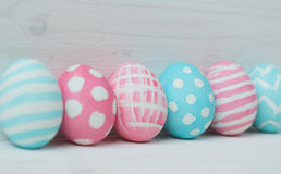 Pink and blue easter eggs Royalty Free Stock Image