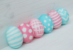 Pink and blue easter eggs Royalty Free Stock Photography