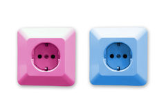 Pink and blue electric sockets Royalty Free Stock Photo