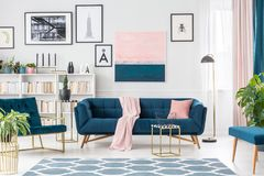 Pink and blue elegant interior royalty free stock photo
