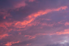 Pink and blue evening sky stock image