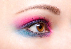 Pink-blue eye make-up Stock Photos