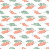 Pink and blue feather seamless pattern Royalty Free Stock Images