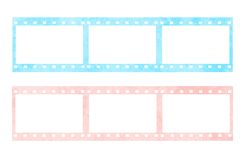 Pink and blue film stripes. In white background Stock Image