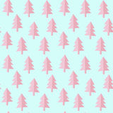 Pink blue fir tree pattern. Seamless pink blue firs pattern, vector illustration, editable background color Royalty Free Stock Photos