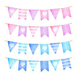 Pink and blue flags garland. Birthday celebration. Watercolor illustration Royalty Free Stock Photos