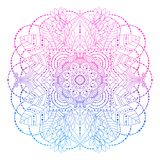 Pink and blue floral mandala line art. Pink and blue gradient colored mandala, vibrant floral decorative design element in boho style isolated on white royalty free illustration