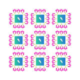 Pink blue floral pattern Stock Photos
