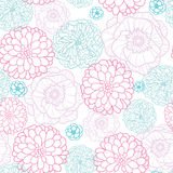 Pink Blue Flowers Lineart Seamless Pattern Stock Image