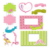 Pink and blue frames. With ribbon stock illustration