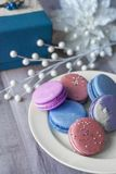 Pink and blue macaroons stacked stock photography