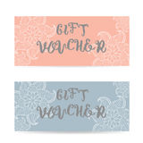 Pink and blue Gift voucher template with lace zentangle pattern Stock Photo