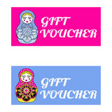 Pink and blue Gift voucher template with  Russion dolls in zenta Stock Photo