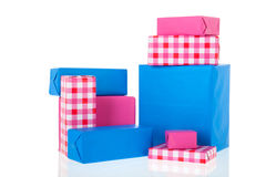 Pink and blue gifts Royalty Free Stock Photo