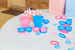 Pink and Blue, Outdoor Gender Reveal Party Decorations royalty free stock images