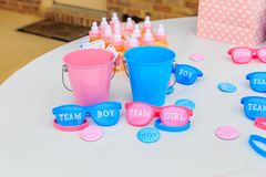 Pink and Blue, Outdoor Gender Reveal Party Decorations. Pink and blue, girl or boy, outdoor gender reveal party decoration and party favorites royalty free stock photos
