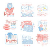 Pink And Blue Girly Pajama Party Invitation Templates Set Inviting Kids For The Slumber Pyjama Overnight Sleepover Cards Royalty Free Stock Images