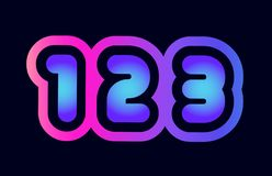 123 pink blue gradient number logo icon design. Design of number 123 pink blue gradient color suitable as a logo for a company or business stock illustration