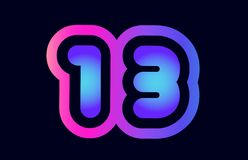 13 pink blue gradient number logo icon design. Design of number 13 pink blue gradient color suitable as a logo for a company or business stock illustration