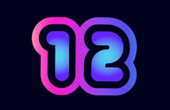 12 pink blue gradient number logo icon design. Design of number 12 pink blue gradient color suitable as a logo for a company or business vector illustration