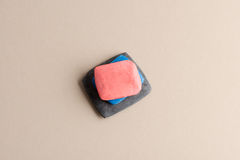 Pink, Blue, and Gray Tailor`s Chalk in a Pile Stock Photo