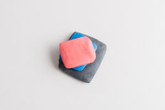 Pink, Blue, and Gray Tailor`s Chalk on White Background Royalty Free Stock Photos