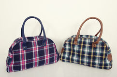 Pink with blue and green with brown tartan bags. Two cute plaid bags. Pink with blue and green with brown tartan bags on white shelf Royalty Free Stock Photography