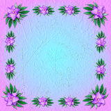 Pink-and-blue grungy background with floral ornament Royalty Free Stock Images