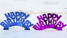 Pink and Blue Happy Birthday Text. Pink and Blue Happy birthday sign for greeting cards stock photos